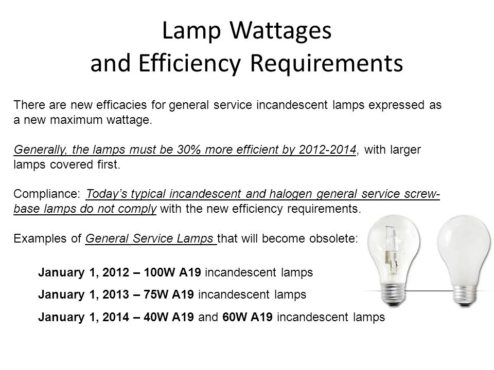 Lamp Wattages and Efficiency Requirements