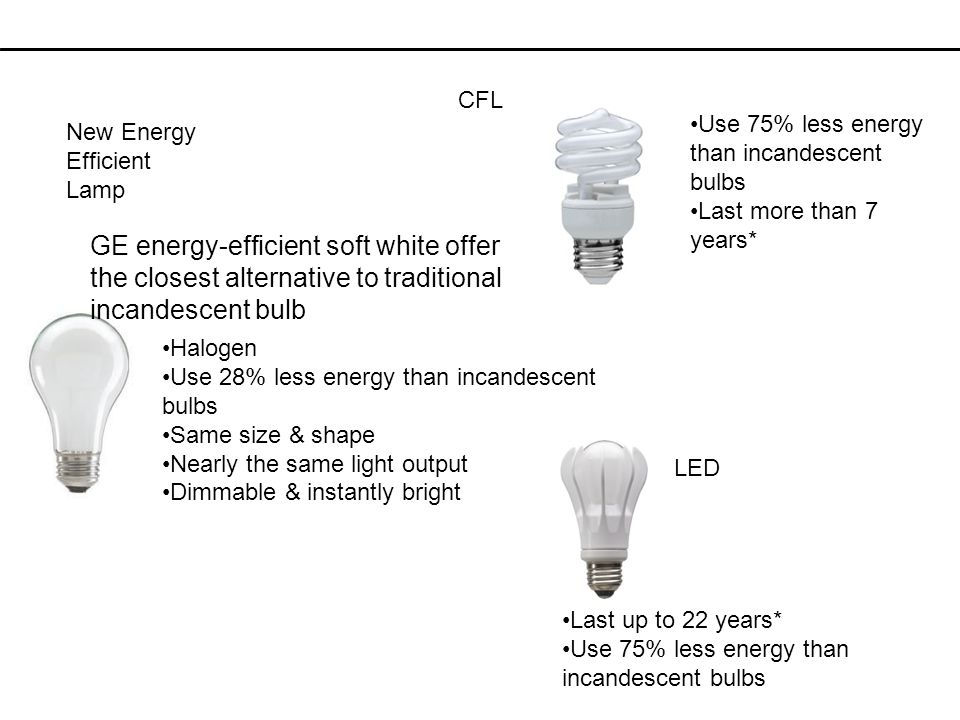 CFL Use 75% less energy than incandescent bulbs. Last more than 7 years* New Energy Efficient Lamp.