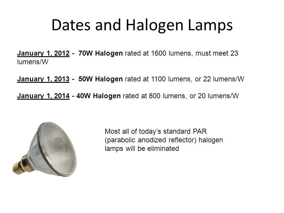 Dates and Halogen Lamps