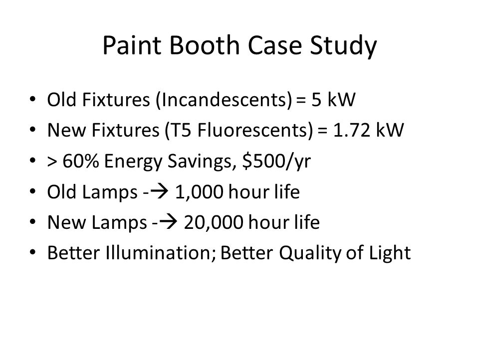 Paint Booth Case Study Old Fixtures (Incandescents) = 5 kW