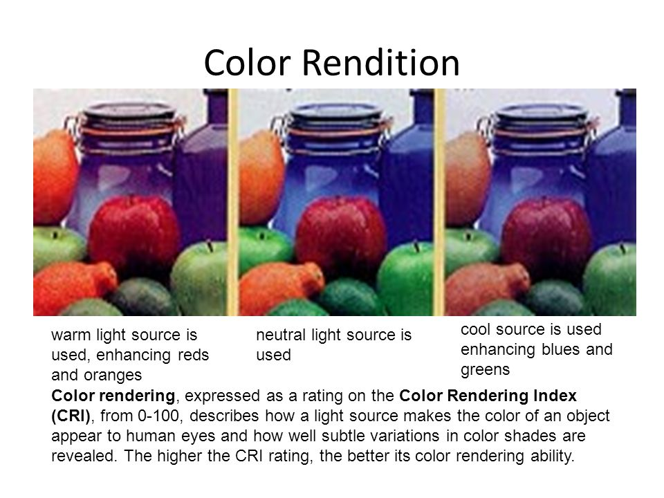 Color Rendition cool source is used enhancing blues and greens