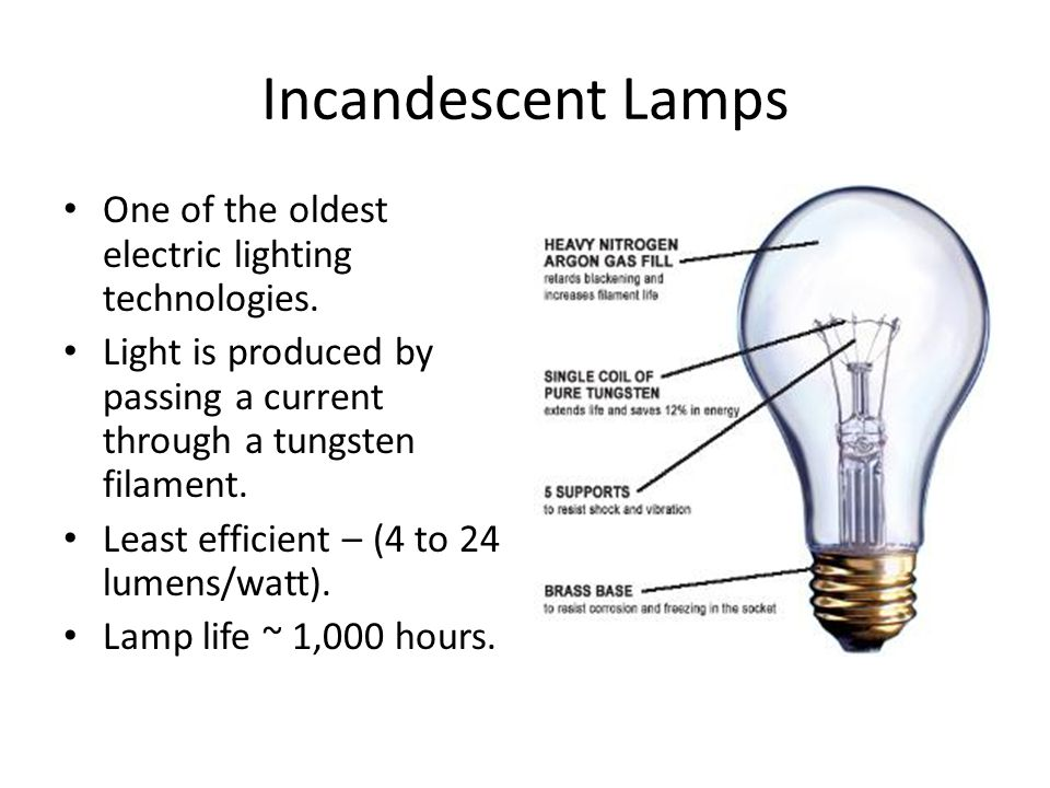 Incandescent Lamps One of the oldest electric lighting technologies.