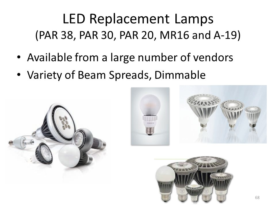LED Replacement Lamps (PAR 38, PAR 30, PAR 20, MR16 and A-19)
