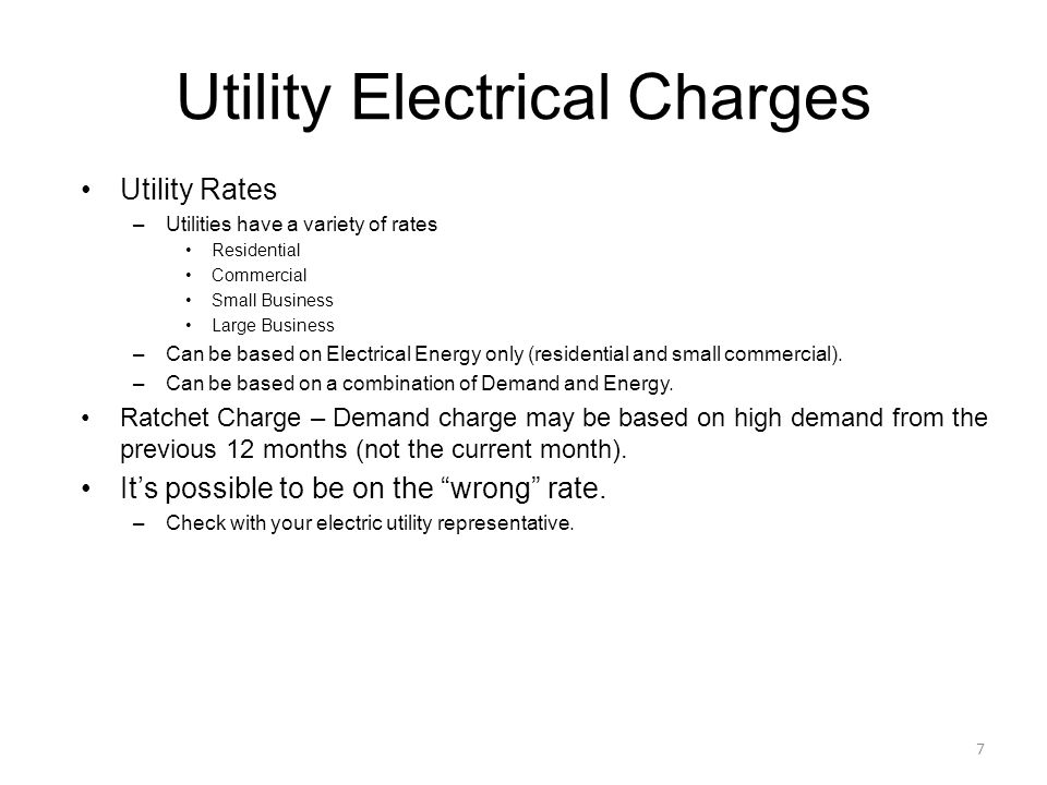 Utility Electrical Charges