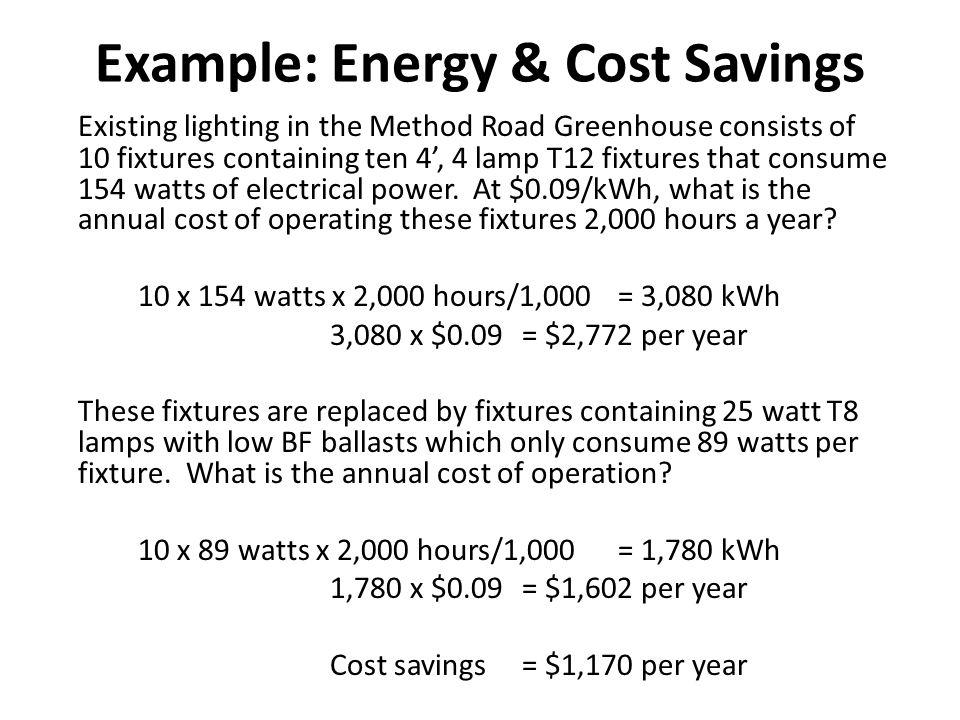Example: Energy & Cost Savings