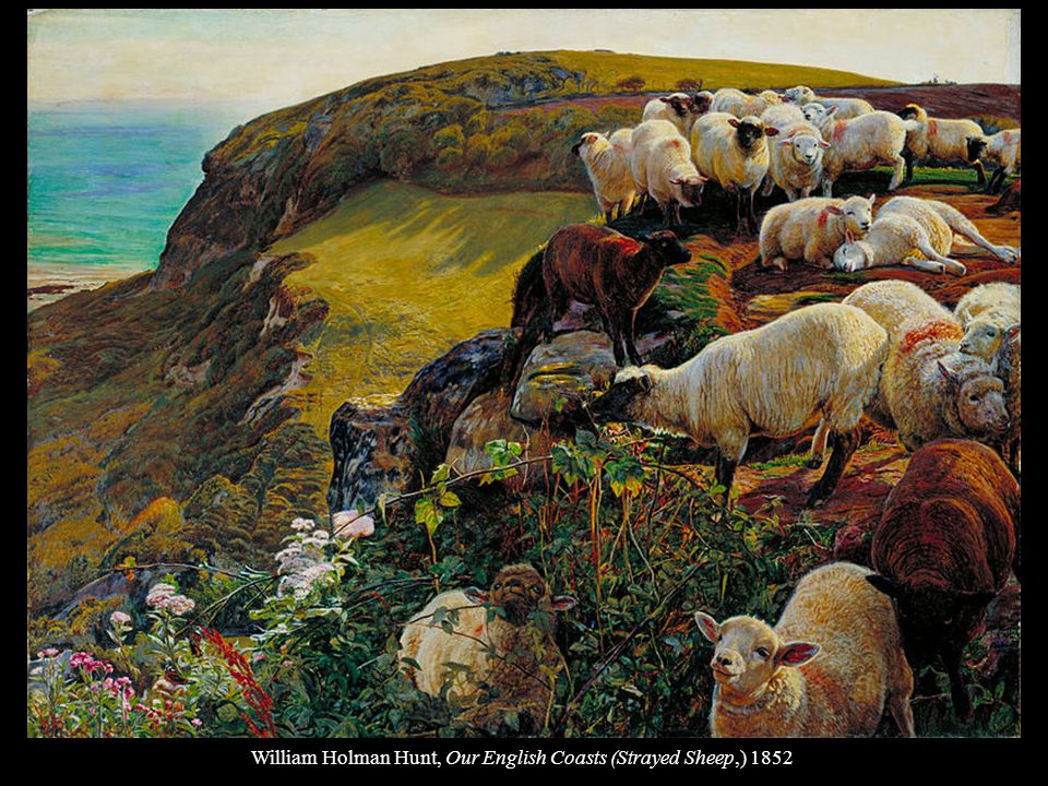 William Holman Hunt, Our English Coasts (Strayed Sheep,) 1852
