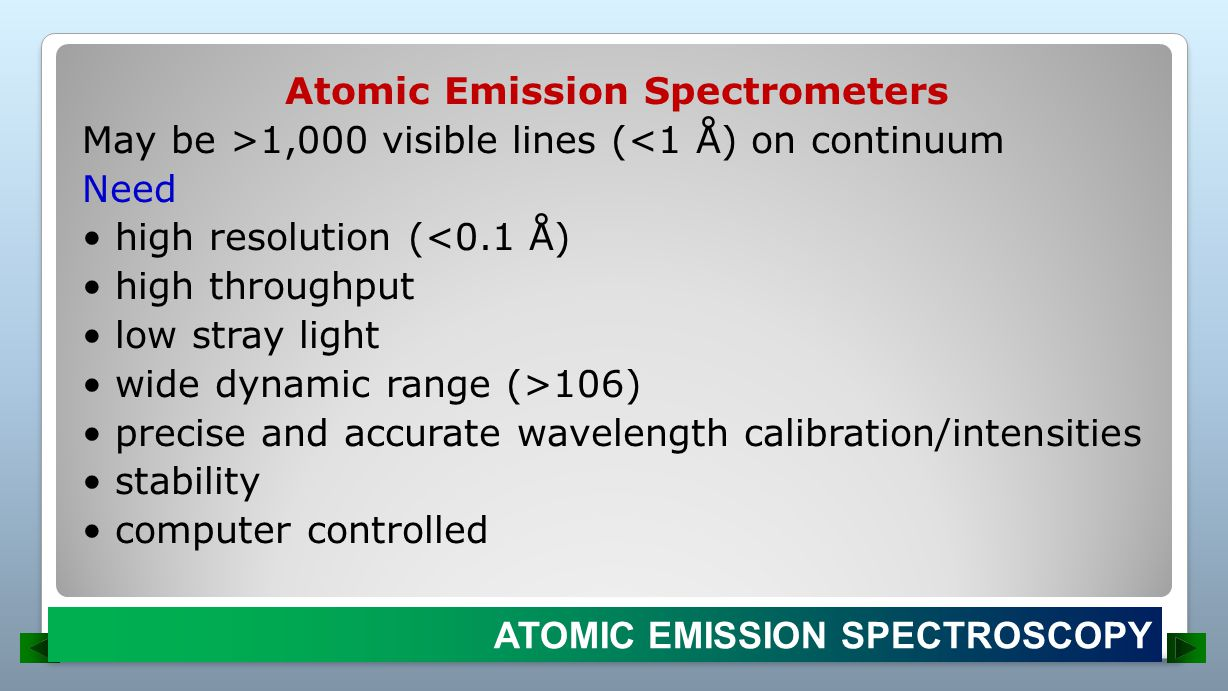 Atomic Emission Spectrometers May be >1,000 visible lines (<1 Å) on continuum Need • high resolution (<0.1 Å) • high throughput • low stray light • wide dynamic range (>106) • precise and accurate wavelength calibration/intensities • stability • computer controlled