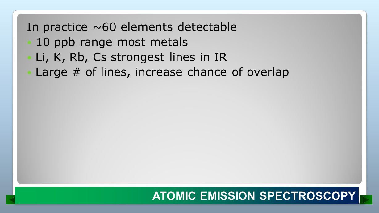 In practice ~60 elements detectable