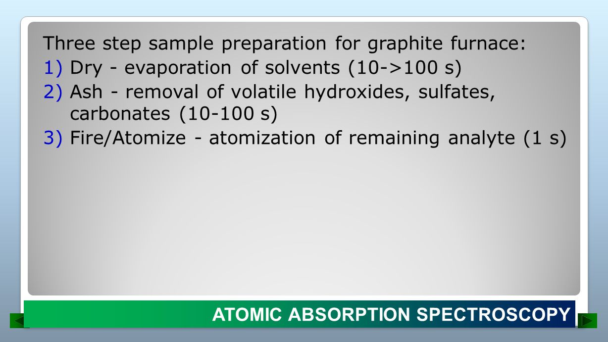 Three step sample preparation for graphite furnace: