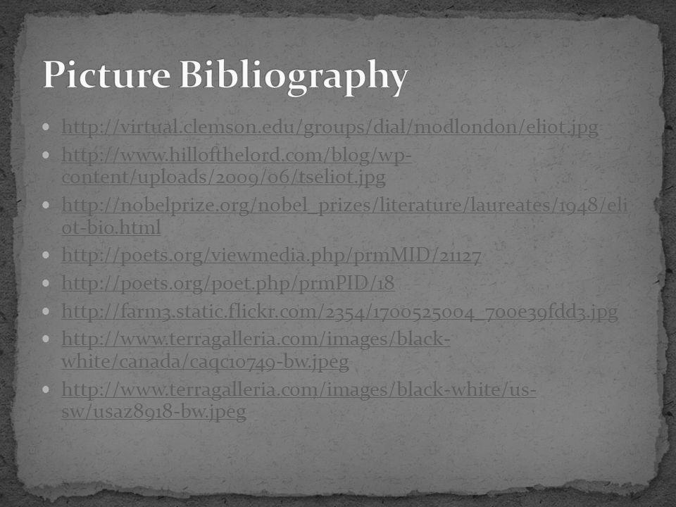 Picture Bibliography http://virtual.clemson.edu/groups/dial/modlondon/eliot.jpg.