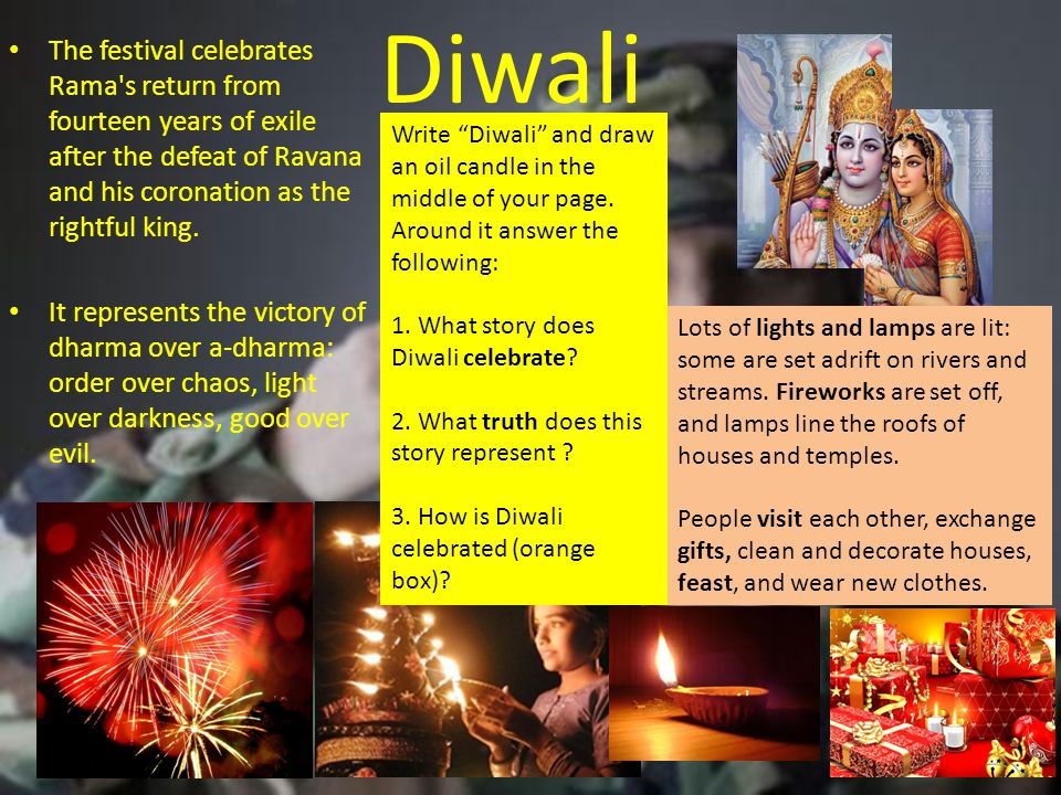 Diwali The festival celebrates Rama s return from fourteen years of exile after the defeat of Ravana and his coronation as the rightful king.
