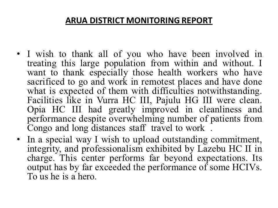 ARUA DISTRICT MONITORING REPORT