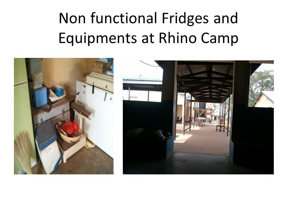 Non functional Fridges and Equipments at Rhino Camp