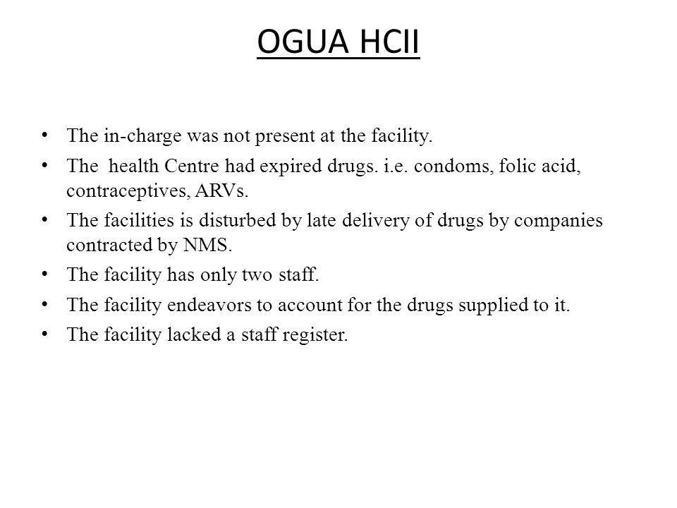 OGUA HCII The in-charge was not present at the facility.