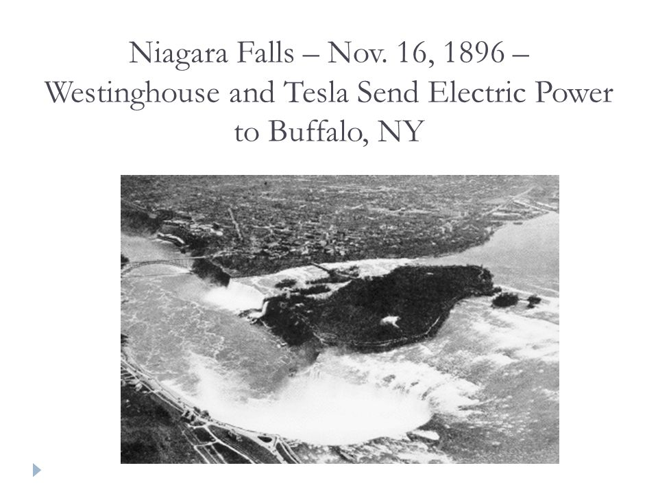 Niagara Falls – Nov. 16, 1896 – Westinghouse and Tesla Send Electric Power to Buffalo, NY
