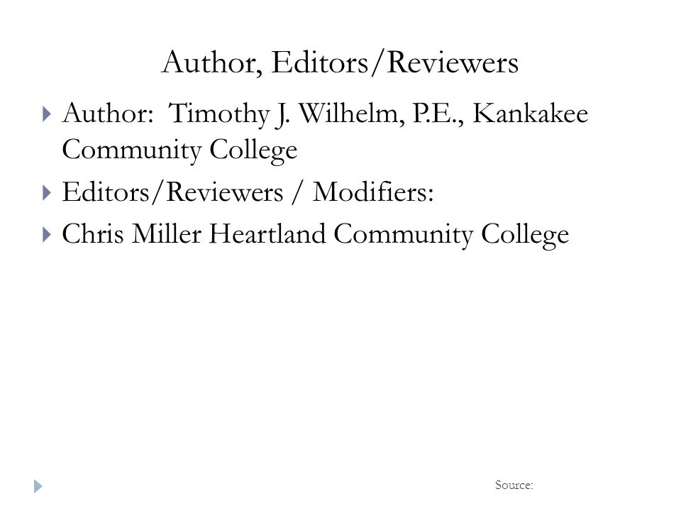 Author, Editors/Reviewers