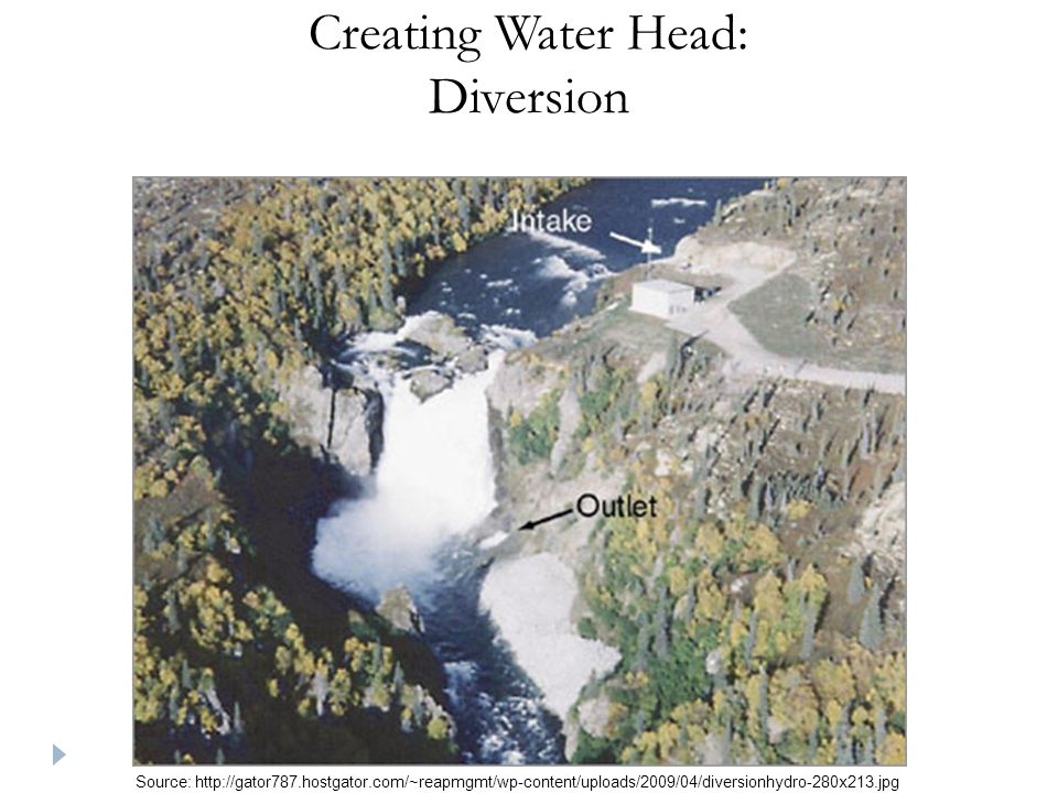 Creating Water Head: Diversion