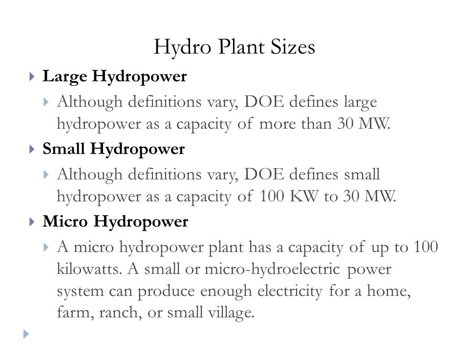 Hydro Plant Sizes Large Hydropower