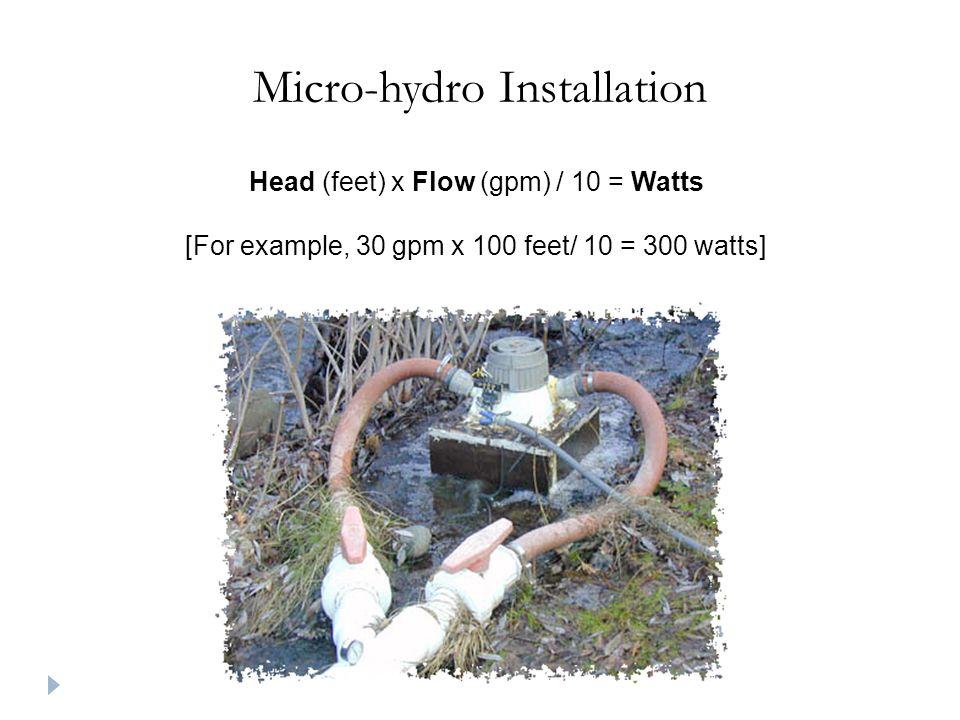 Micro-hydro Installation