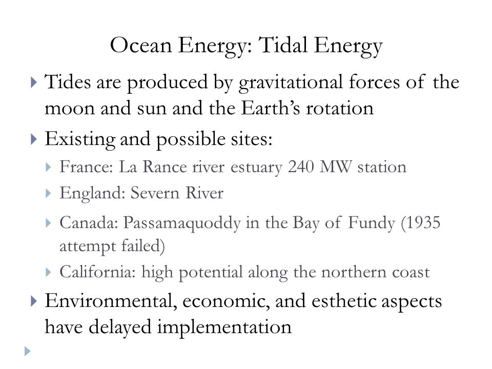 Ocean Energy: Tidal Energy