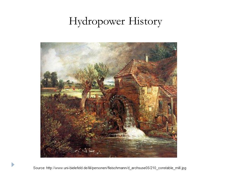 Hydropower History Source: http://www.uni-bielefeld.de/lili/personen/fleischmann/d_archsuse05/210_constable_mill.jpg.