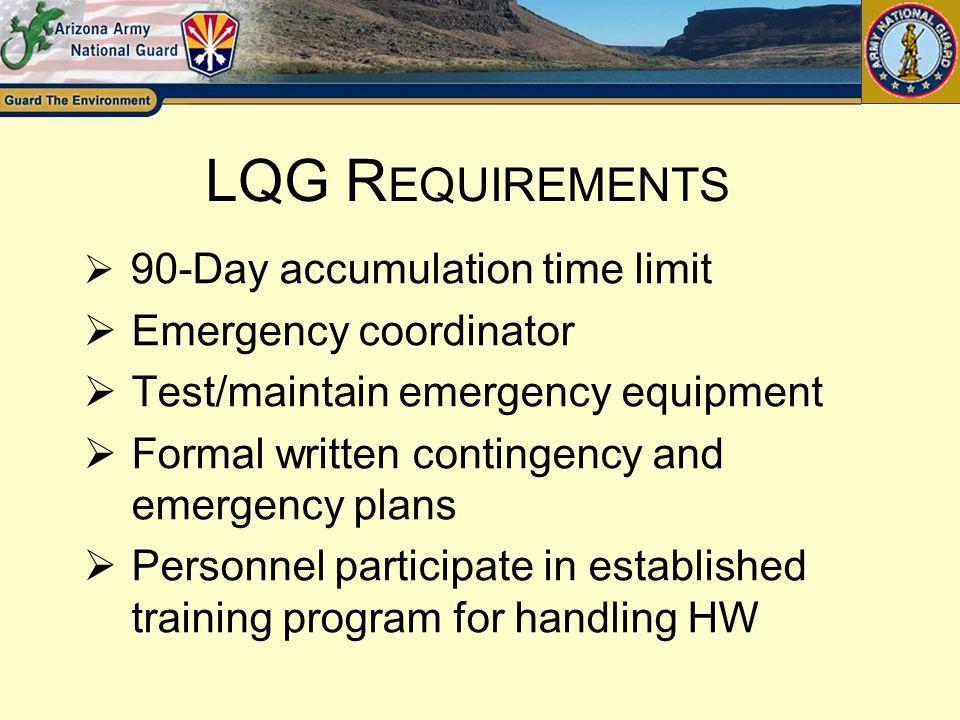 LQG Requirements Emergency coordinator