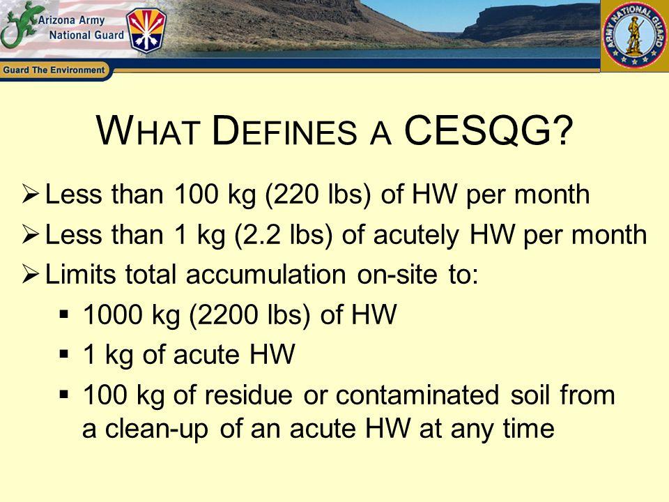 What Defines a CESQG Less than 100 kg (220 lbs) of HW per month