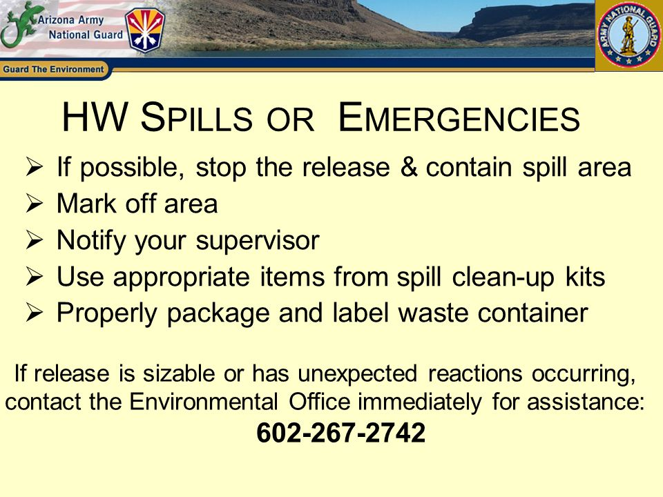 HW Spills or Emergencies