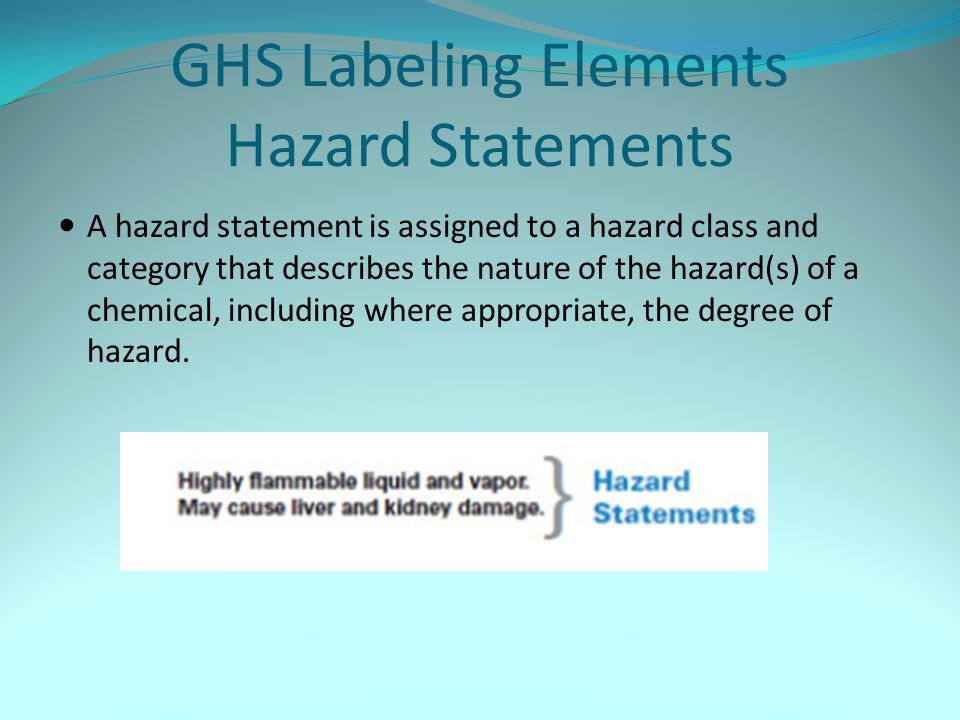 GHS Labeling Elements Hazard Statements