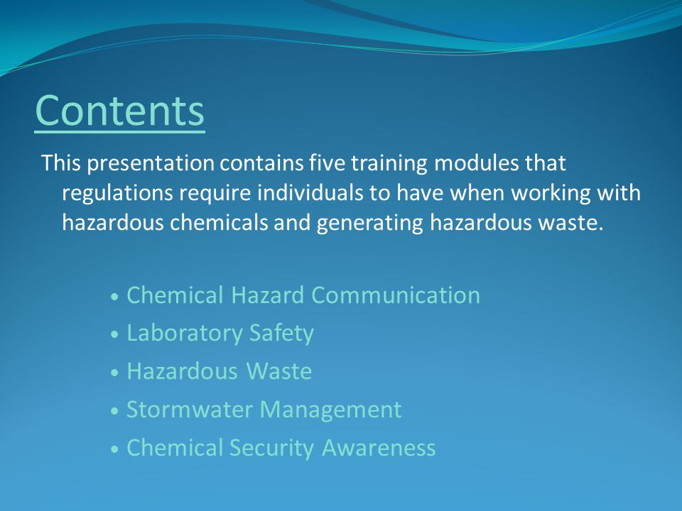 Contents Chemical Hazard Communication Laboratory Safety
