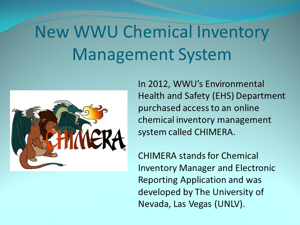 New WWU Chemical Inventory Management System