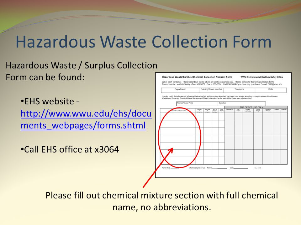 Hazardous Waste Collection Form