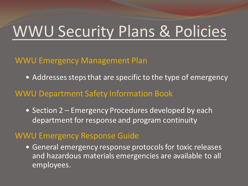WWU Security Plans & Policies