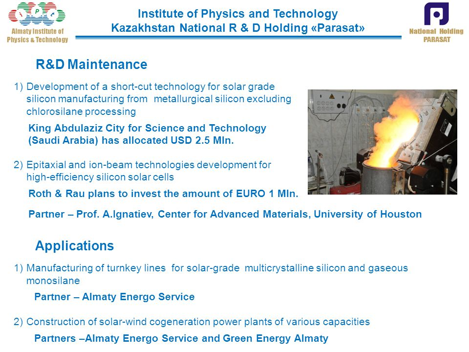 R&D Maintenance Applications Institute of Physics and Technology