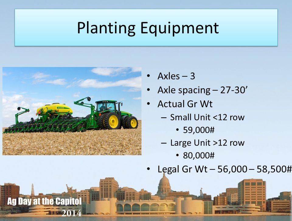 Planting Equipment Axles – 3 Axle spacing – 27-30' Actual Gr Wt