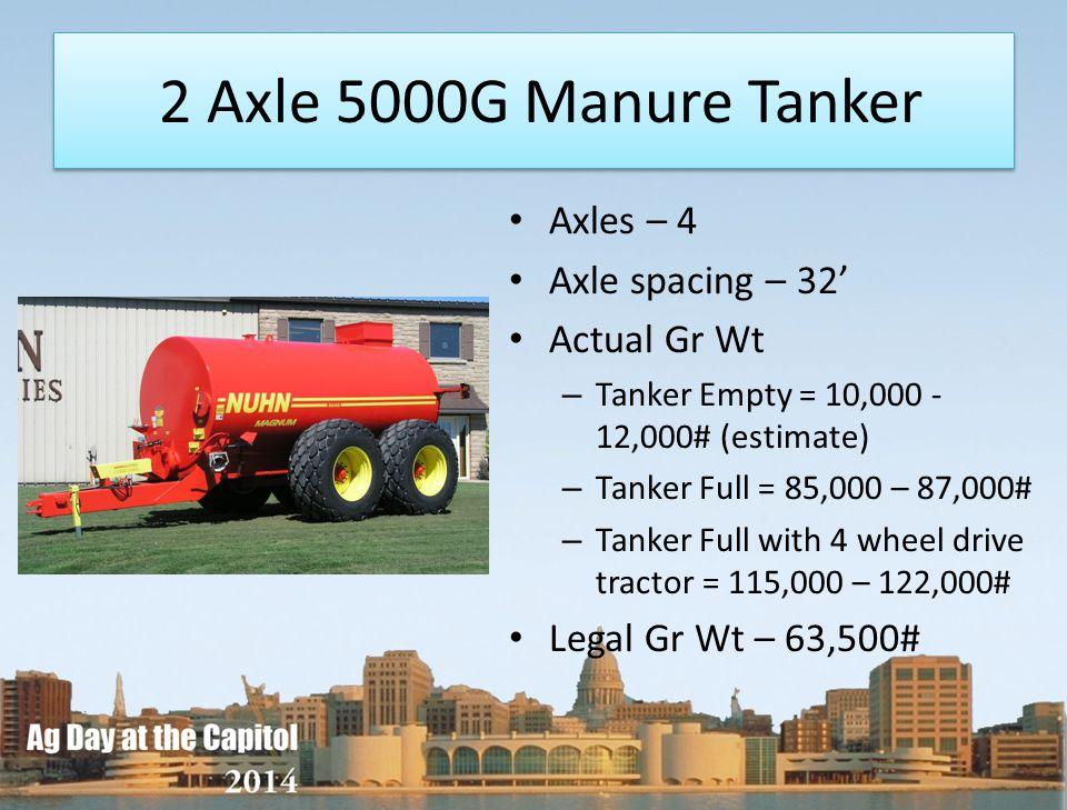 2 Axle 5000G Manure Tanker Axles – 4 Axle spacing – 32' Actual Gr Wt