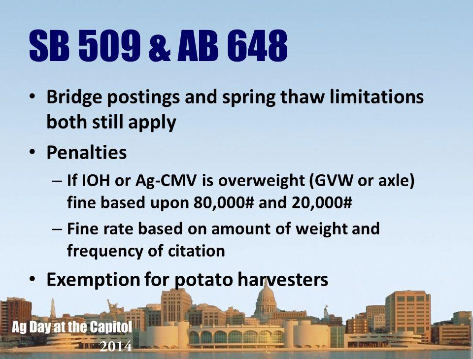 SB 509 & AB 648 Bridge postings and spring thaw limitations both still apply. Penalties.