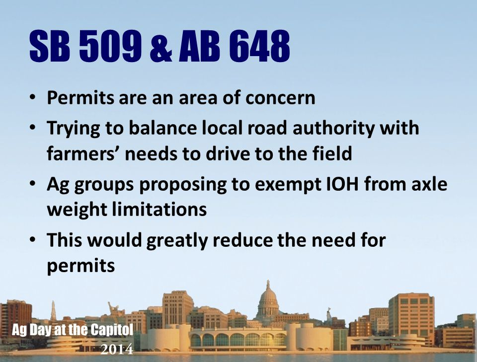 SB 509 & AB 648 Permits are an area of concern
