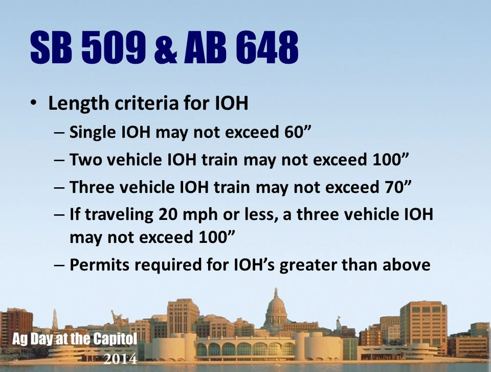 SB 509 & AB 648 Length criteria for IOH Single IOH may not exceed 60