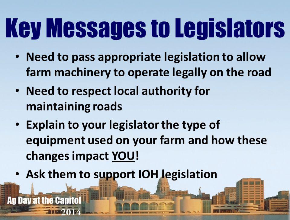 Key Messages to Legislators