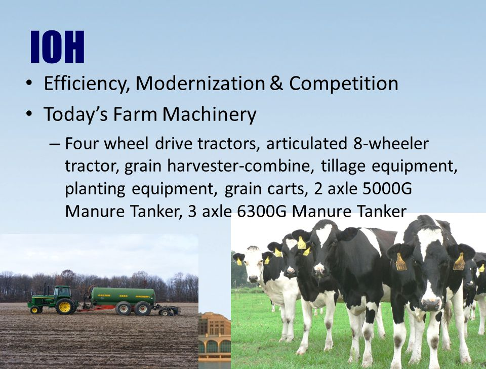 IOH Efficiency, Modernization & Competition Today's Farm Machinery