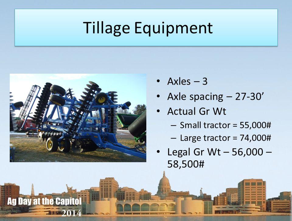 Tillage Equipment Axles – 3 Axle spacing – 27-30' Actual Gr Wt