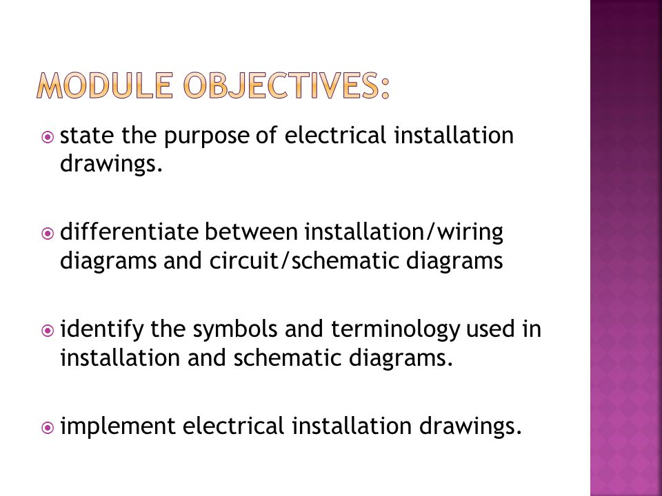 Module Objectives: state the purpose of electrical installation drawings.