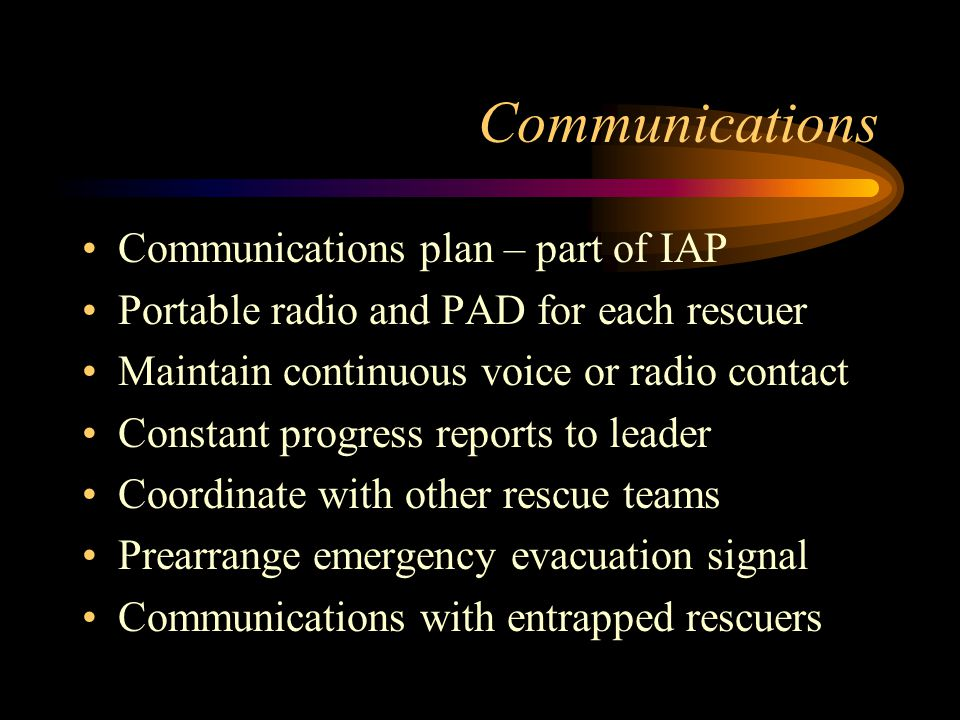 Communications Communications plan – part of IAP