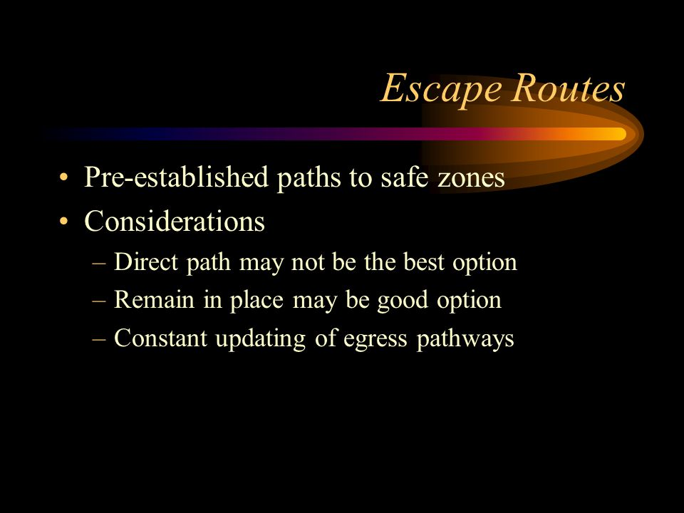 Escape Routes Pre-established paths to safe zones Considerations