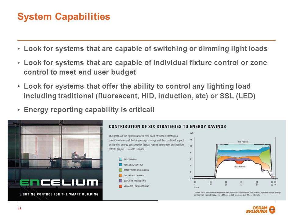 System Capabilities Look for systems that are capable of switching or dimming light loads.