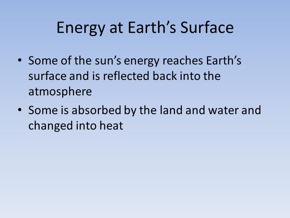 Energy at Earth's Surface