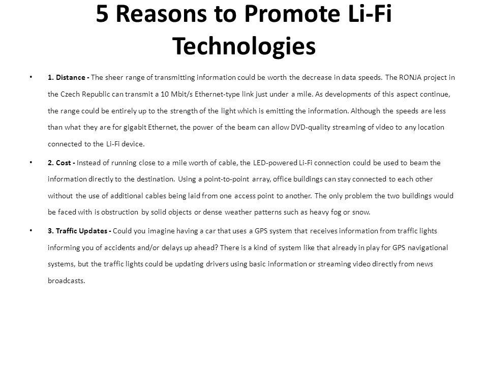 5 Reasons to Promote Li-Fi Technologies
