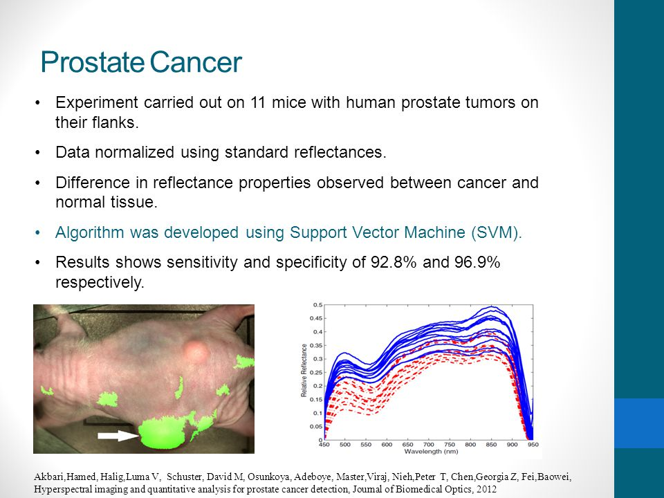 Prostate Cancer Experiment carried out on 11 mice with human prostate tumors on their flanks. Data normalized using standard reflectances.