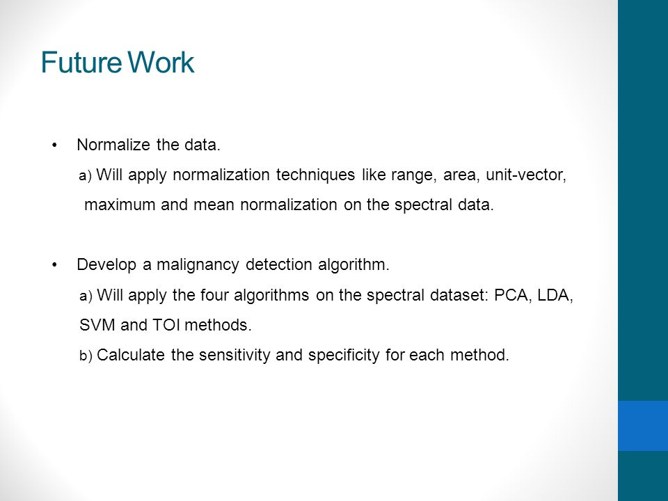 Future Work Normalize the data.